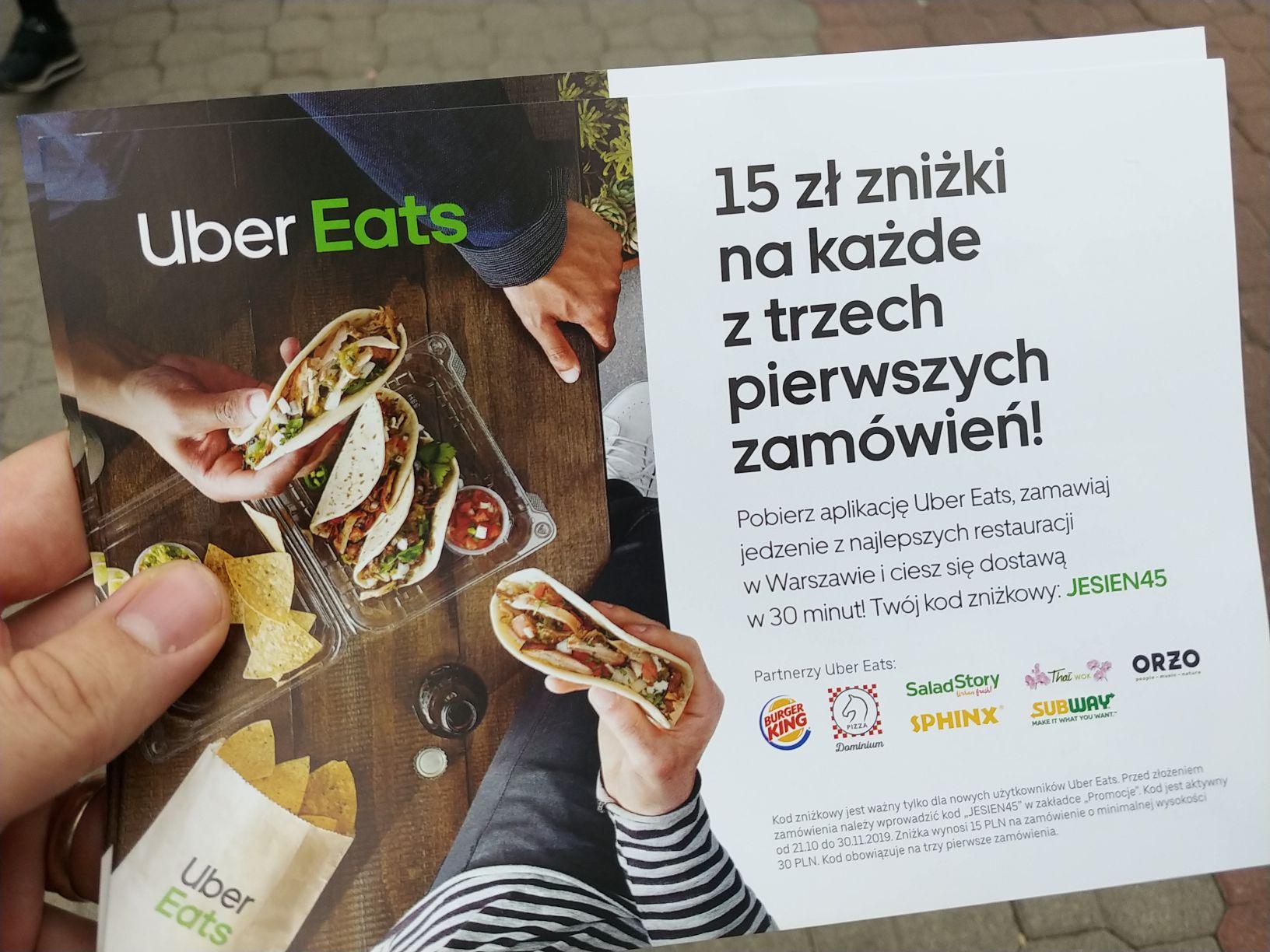 Uber Eats - 15 zł zniżki na każde z trzech zamówień - dla nowych - Warszawa