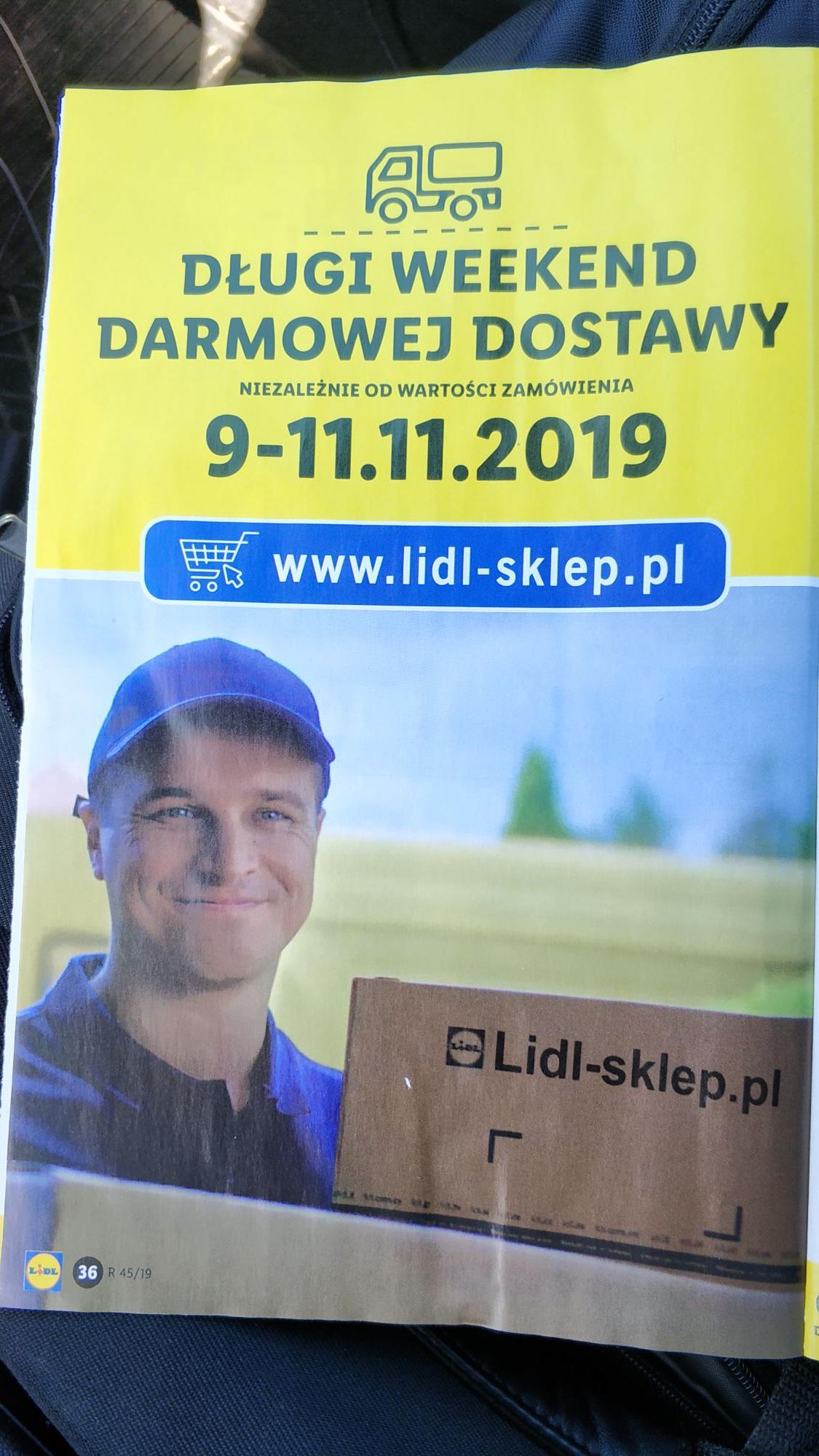 Darmowa dostawa 9-11.11.2019 na www.lidl-sklep.pl bez MWZ - Długi weekend darmowej dostawy.