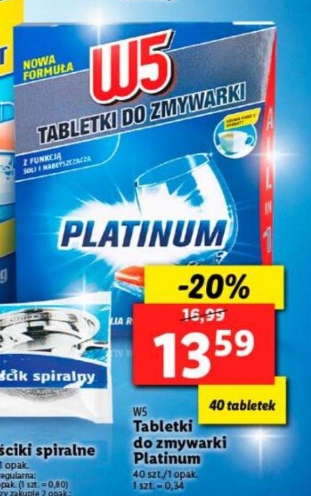 W5 PLATINUM tabletki do zmywarki 40 szt. LIDL