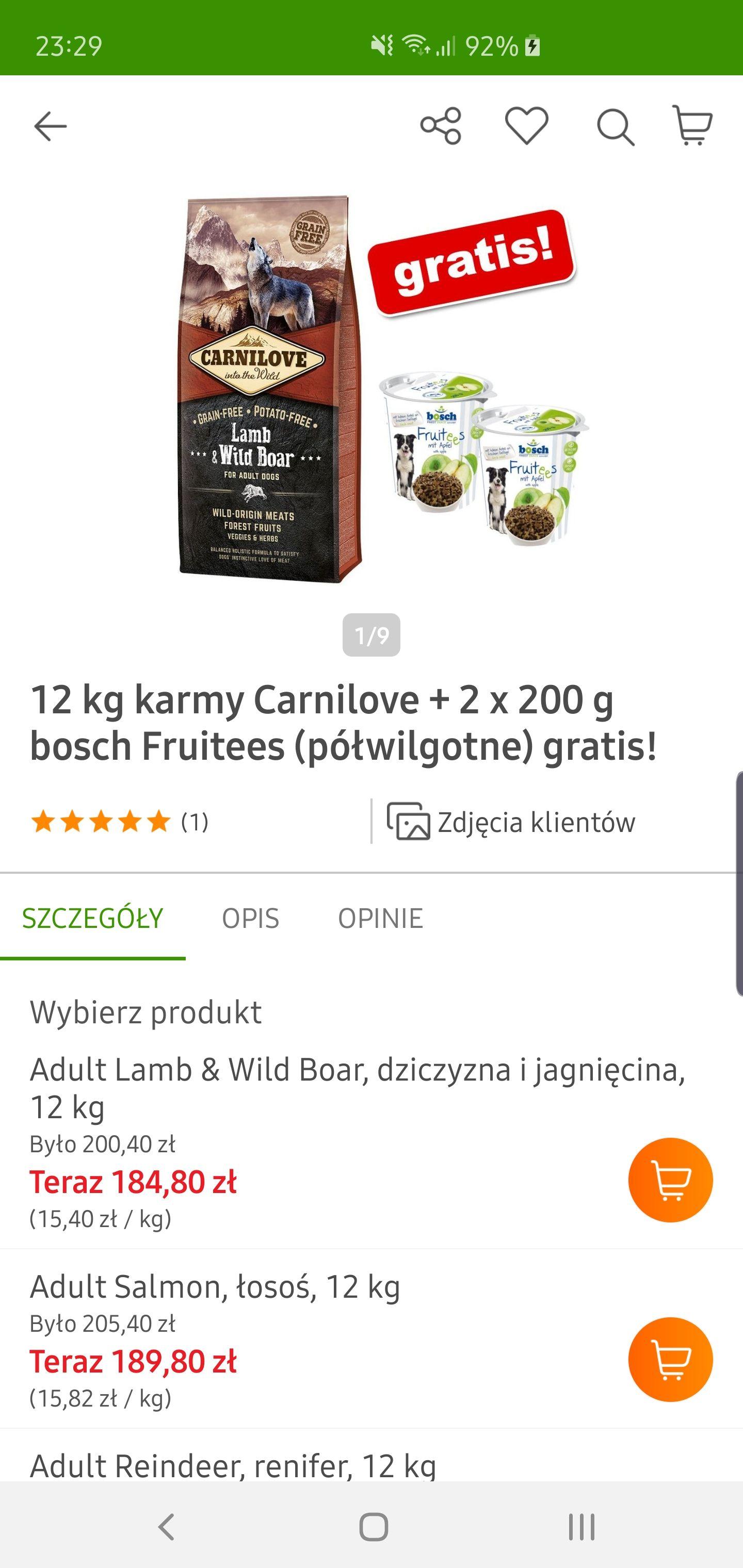 Zooplus Carnilove 12 kg  6 rodzajów do wyboru
