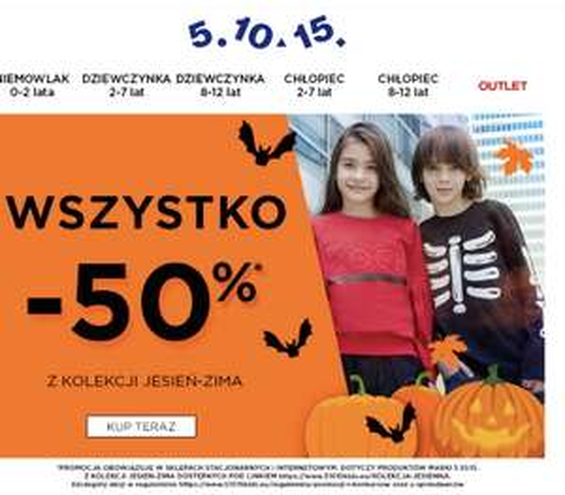 5.10.15 Wszystko -50% z kolekcji jesień - zima stacjonarnie i online