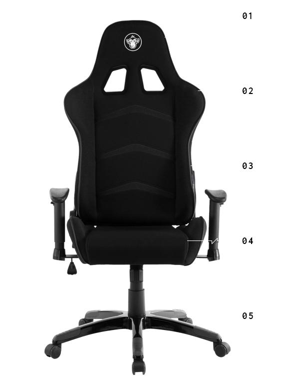 Czarny fotel materiałowy Silver Monkey SMG-450 w x-kom