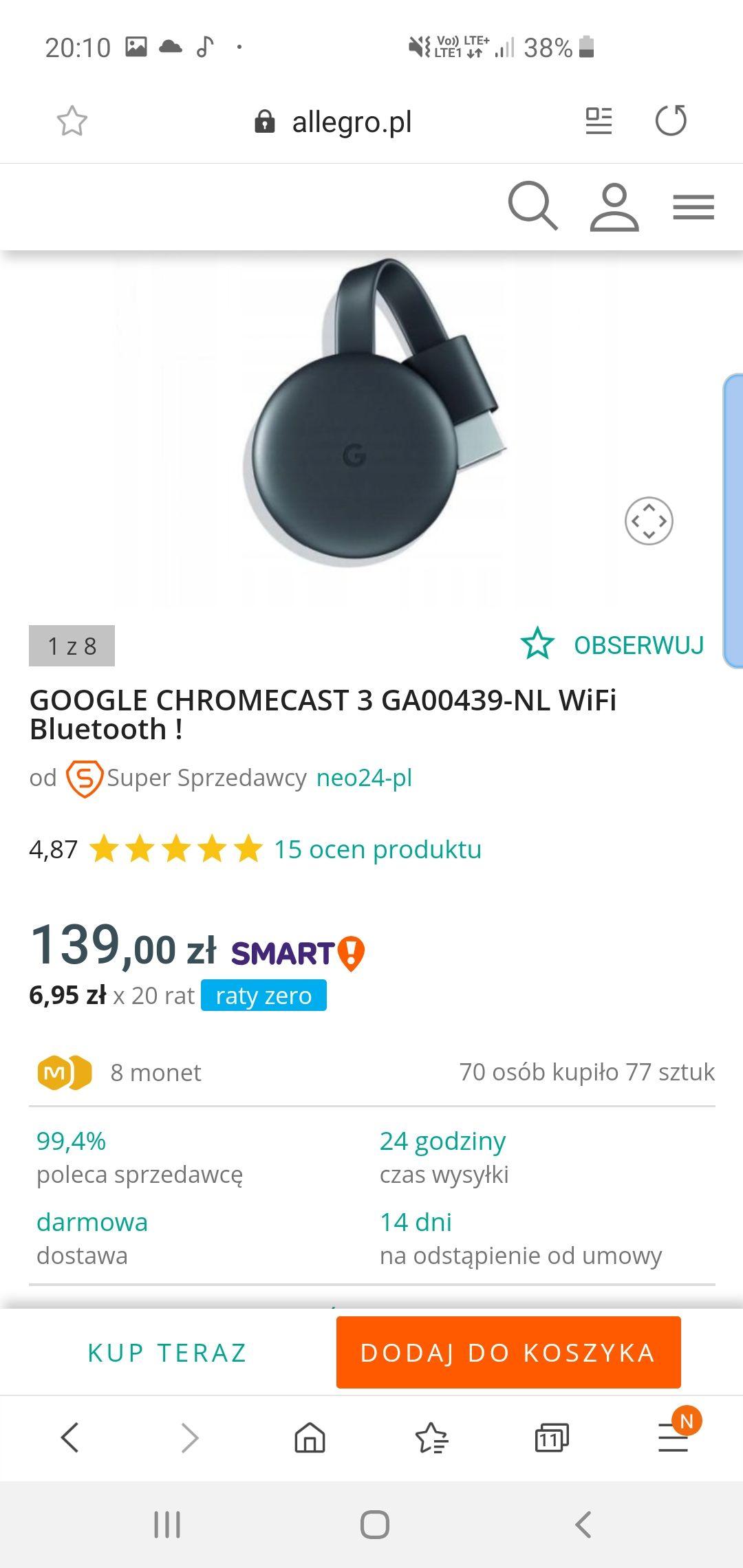 Google chromecast 3.0 GA00439-NL