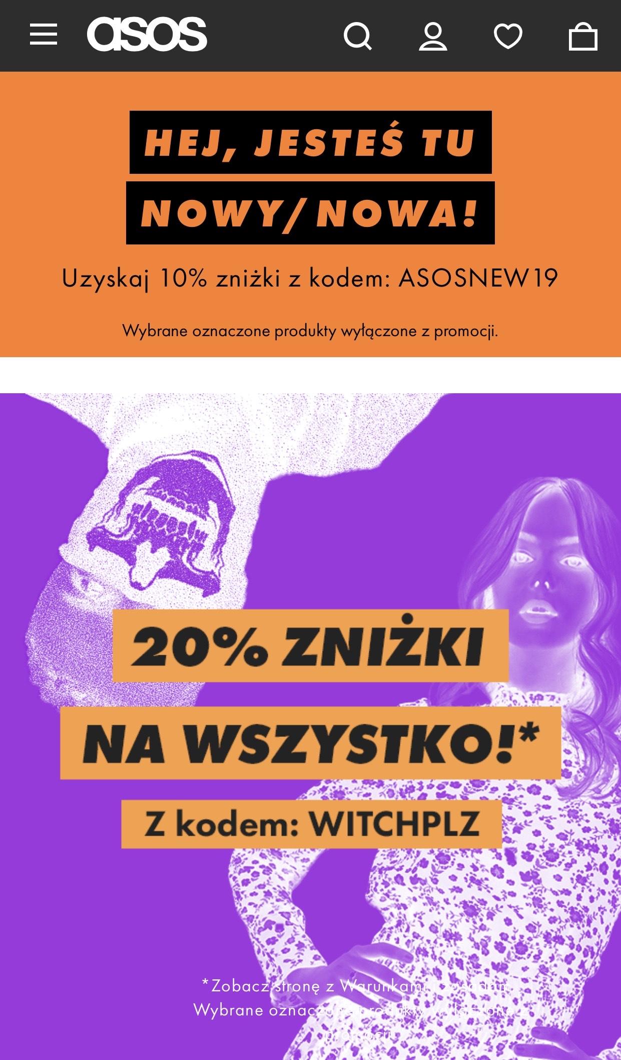 20% ZNIŻKI NA WSZYSTKO w ASOS