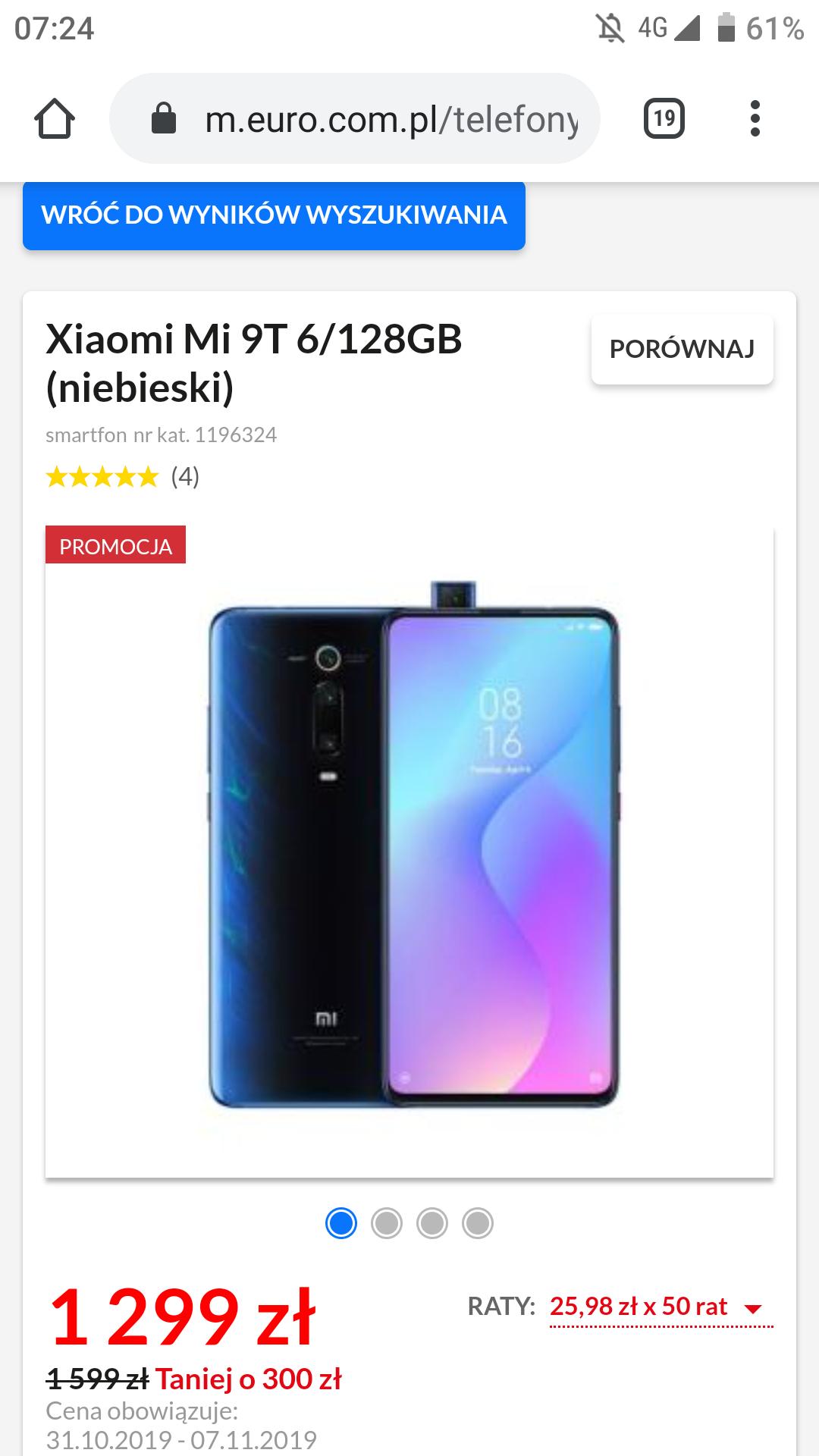 Xiaomi Mi 9t 6/128 niebieski, faktura pl + gwarancja