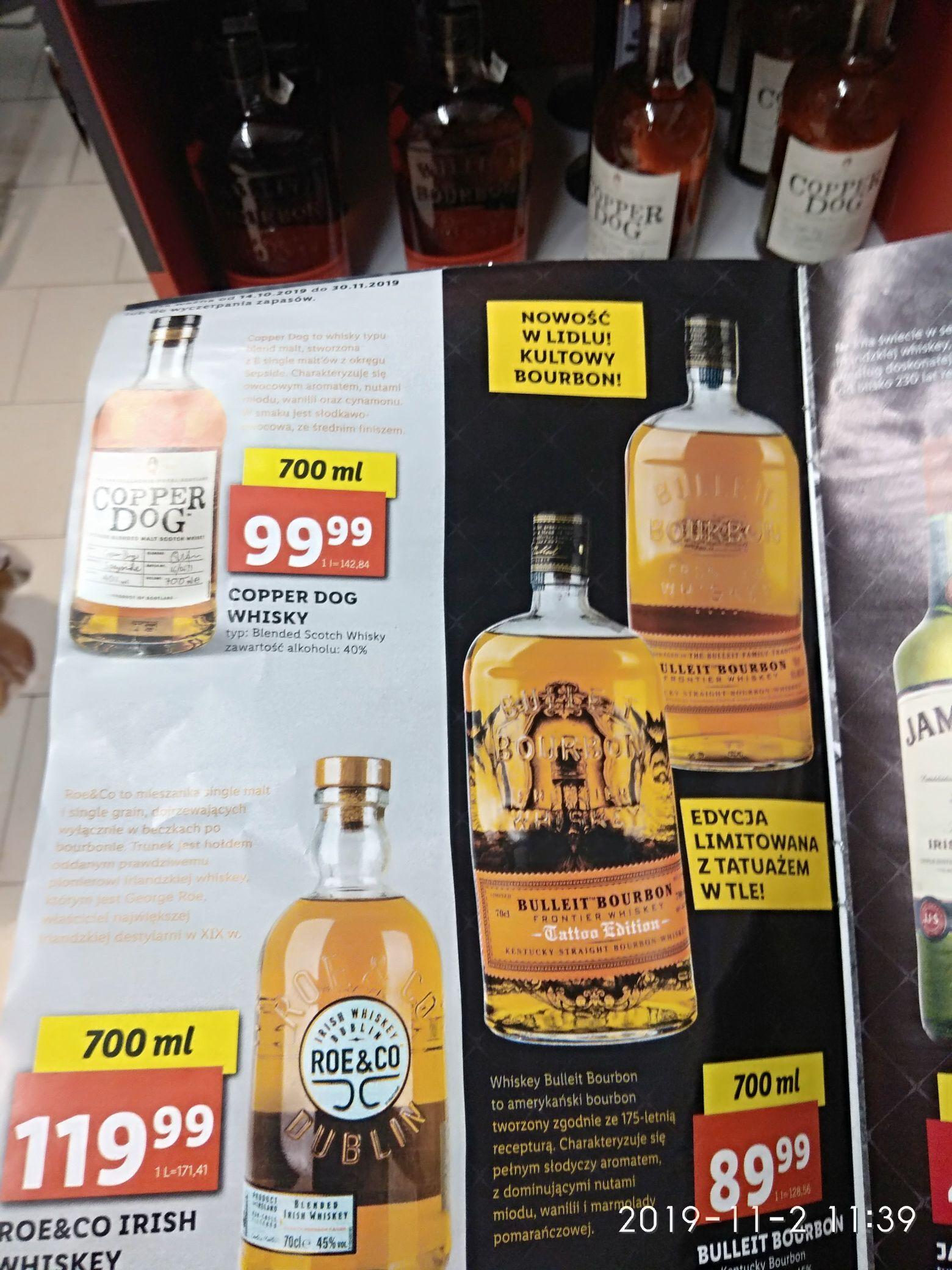 Whisky Cooper Dog, Bulleit Burbon, Roe&Co w Lidlu