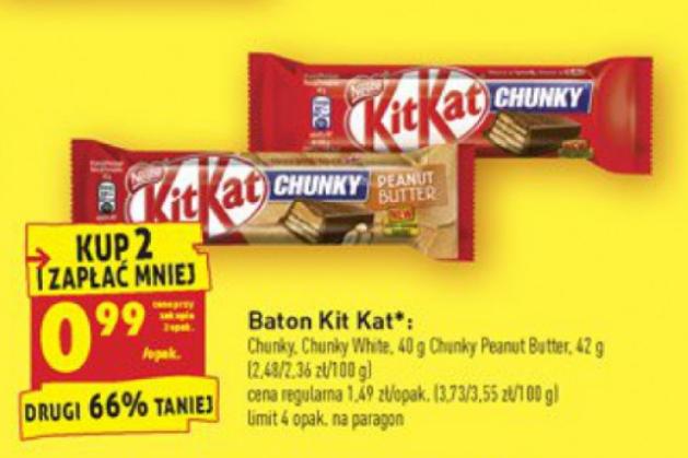 Batony Kit Kat po 99 groszy za sztukę przy zakupie dwóch, Biedronka