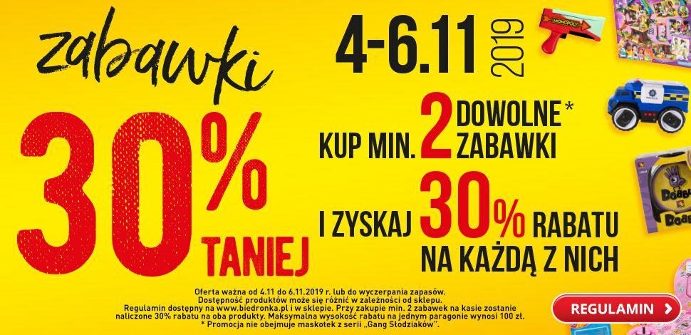 30% zniżki na zabawki w Biedronce (min. 2 szt.)
