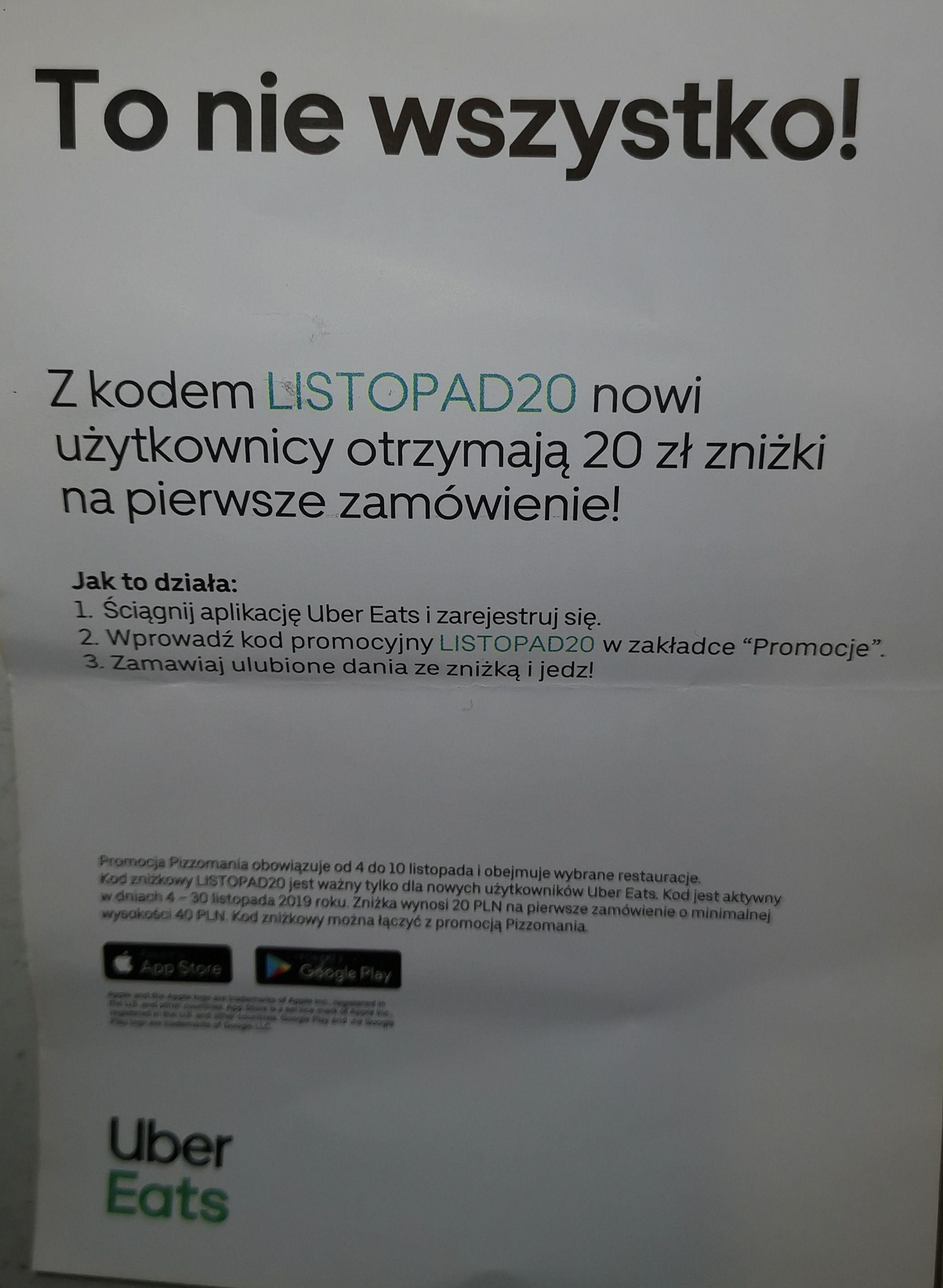 UBER EATS 20 zł dla nowych