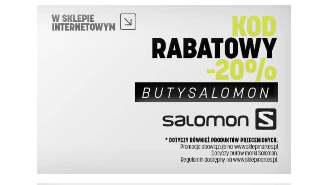 -20% na buty SALOMON nawet na przecenione