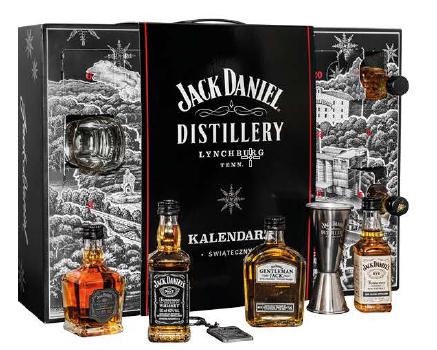 Carrefour Jack Daniel's Honey Fire Rye Gentleman Jack Single Barrel Kieliszek Breloczek Jigger 21 Butelek Kalendarz Adwentowy.