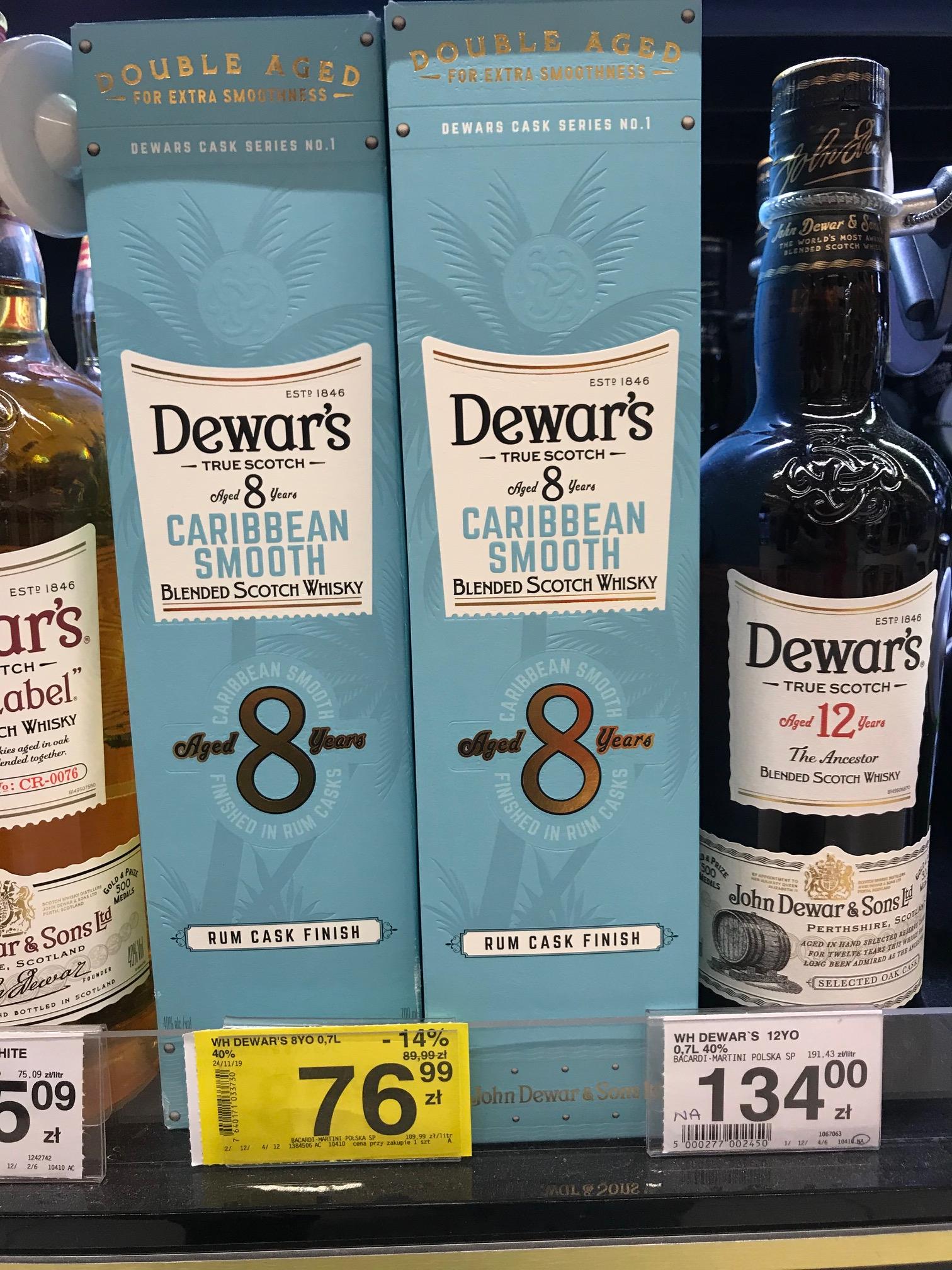 Carrefour Whisky Dewar's 8YO Caribbean Smooth 0.7 Jaworzno.