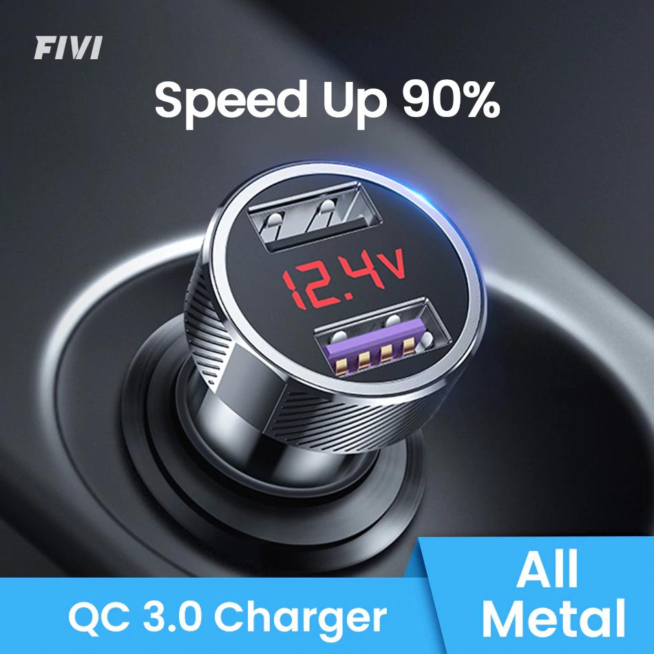 Ładowarka samochodowa FIVI szybko ładująca ładowarka do telefonu QC 3.0