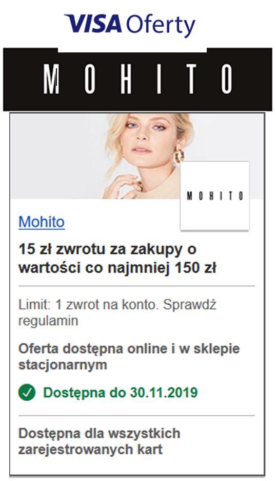 Mohito 15 zł zwrotu za zakupy o wartości co najmniej 150 zł