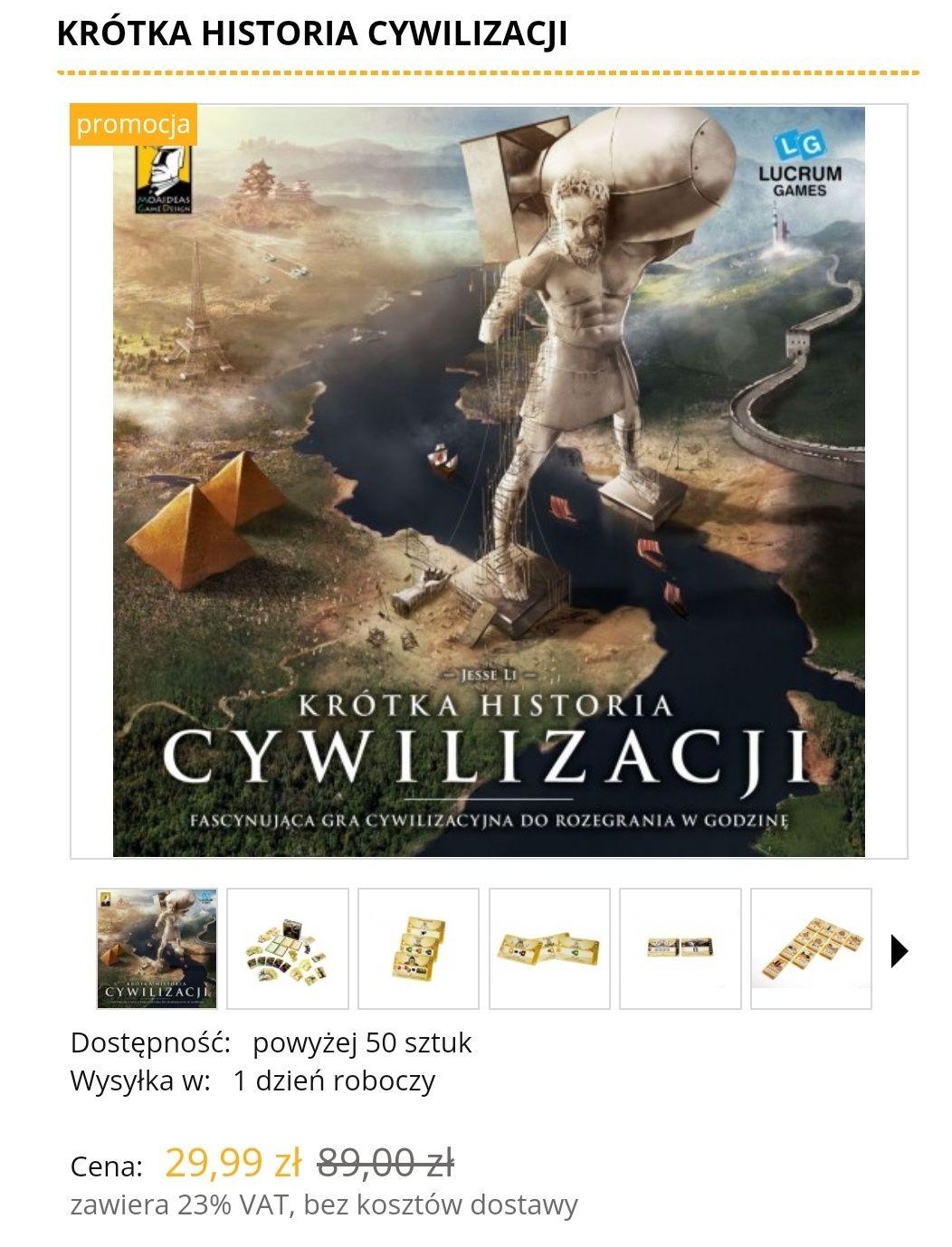 Krótka Historia Cywilizacji gra planszowa