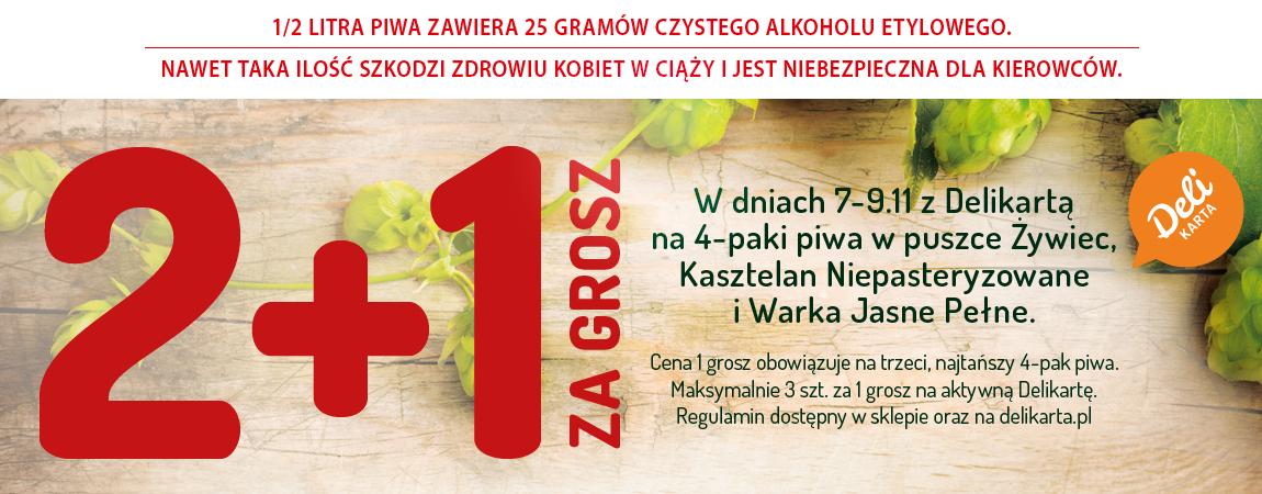 2 + 1 za grosz na 4-paki piwa - Delikatesy Centrum