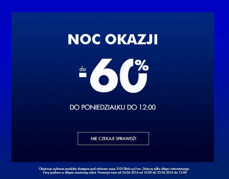 Noc wyprzedaży w sklepie internetowym 5-10-15. Do -60%.