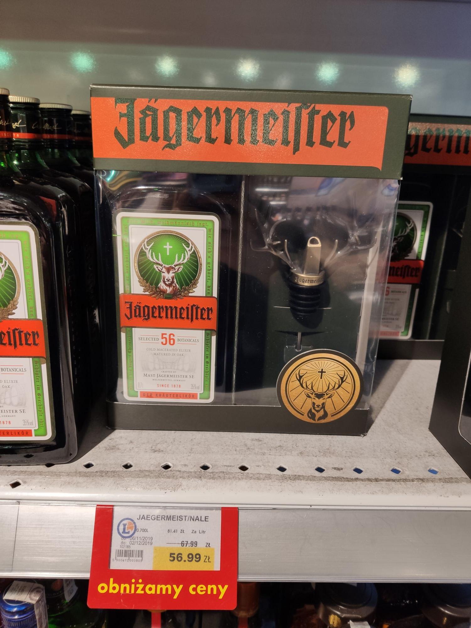 Jagermeister 0.7l + lejek w kształcie poroży jelenia @ Leclerc