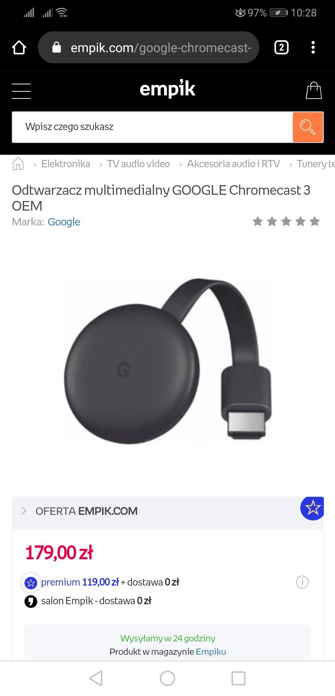 Chromecast bez pudelka OEM (119zł z premium empik)