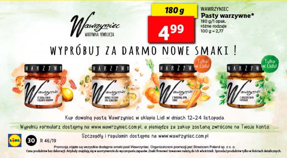Wypróbuj za darmo pasty Wawrzyniec w Lidl od 12-24.11.19 Streetcom