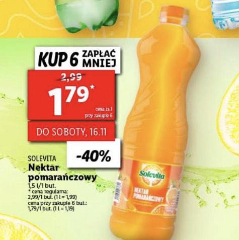 Nektar pomarańczowy Solevita przy zakupie 6 sztuk 1,79zł/szt(1,5L)- Lidl