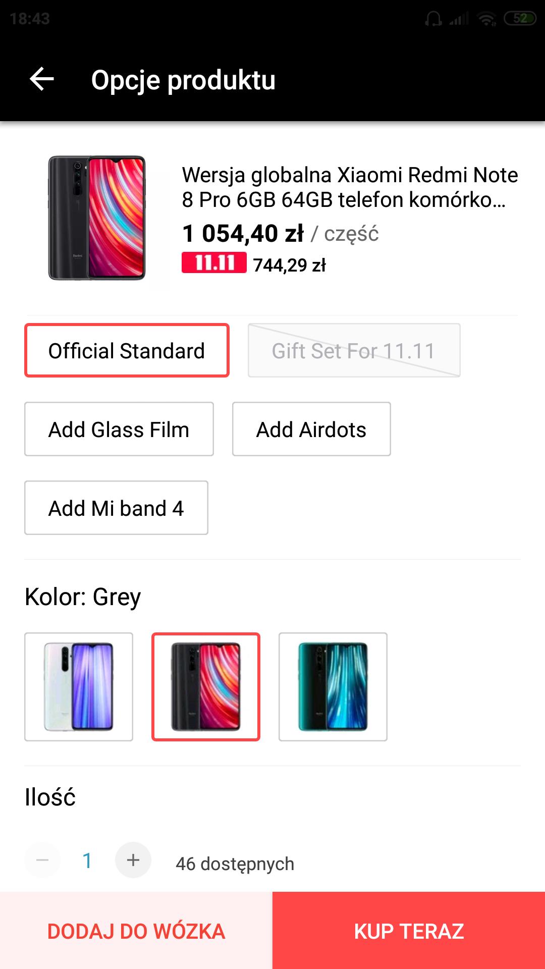 Wersja globalna Redmi Note 8 Pro 6/64 $189.99