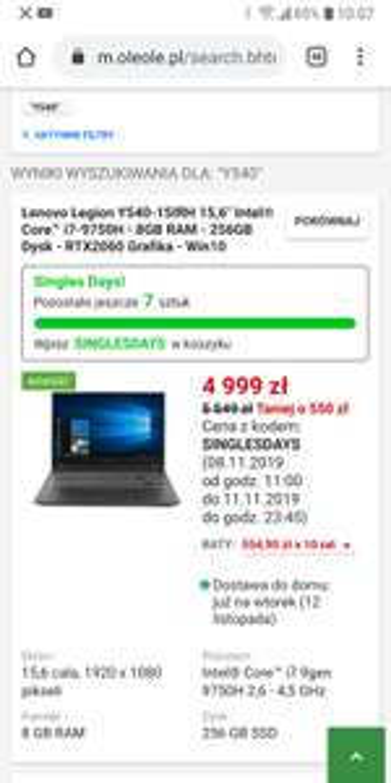 "Lenovo Legion Y540-15IRH 15,6"" Intel® Core™ i7-9750H - 8GB RAM - 256GB Dysk - RTX2060 Grafika - Win10"