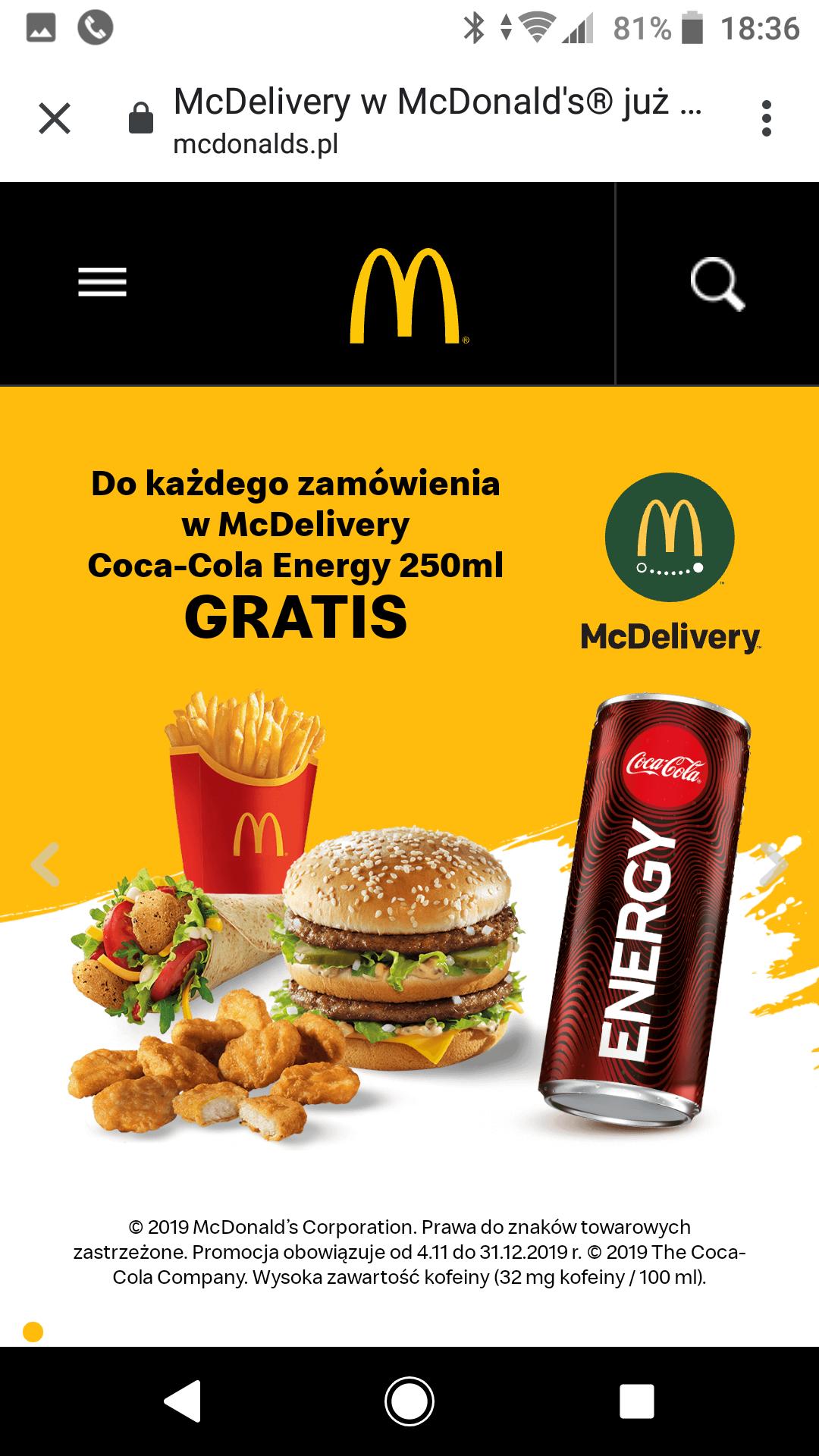Do każdego zamówienia w Mc Delivery Coca cola energy 250ml Gratis