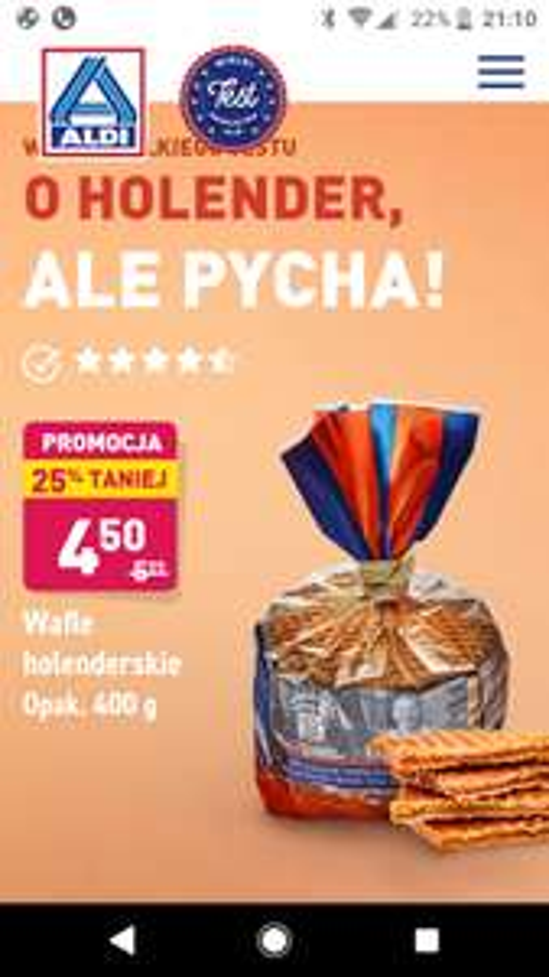 Aldi Wafle holenderskie - 25%