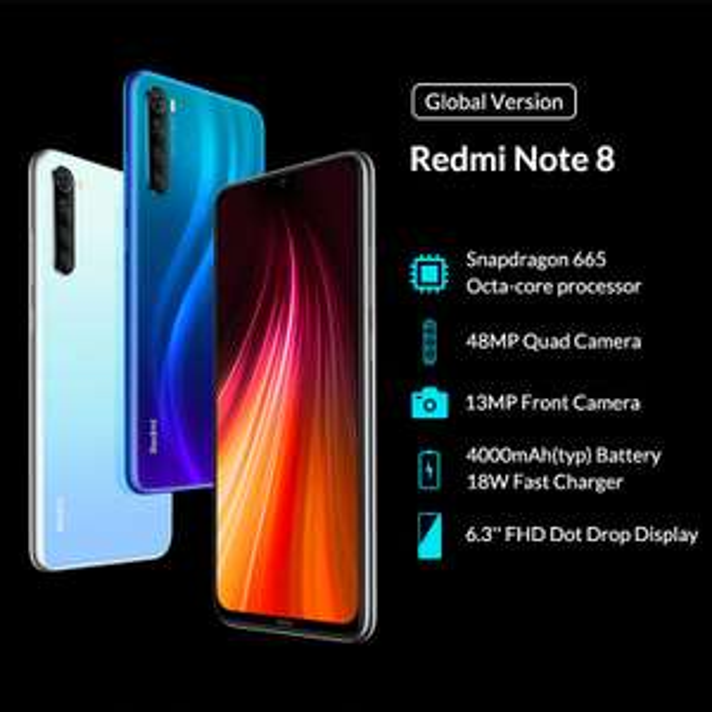 """Xiaomi Redmi Note 8: 6.3"""", 4/64GB, Snap 665, 48MPx, 4Ah, 18W QC, Android 9 (MIUI V10) $140.99"""