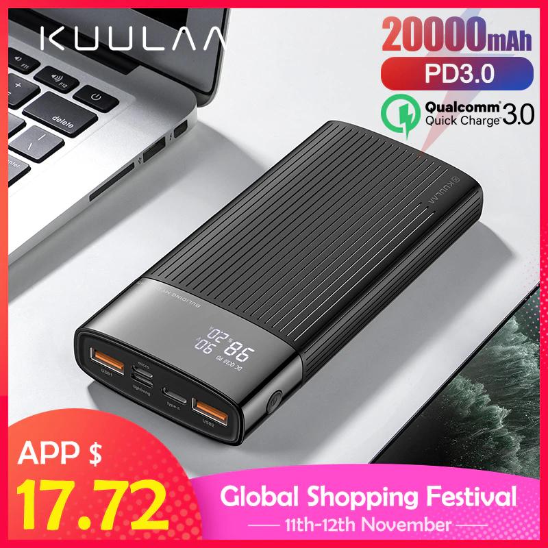 KUULAA PowerBank 20000 mAh usb C QC3 za 13$ z kuponem sklepu -5$