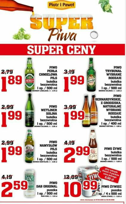 piwa w dobrych cenach w Piotr i Paweł
