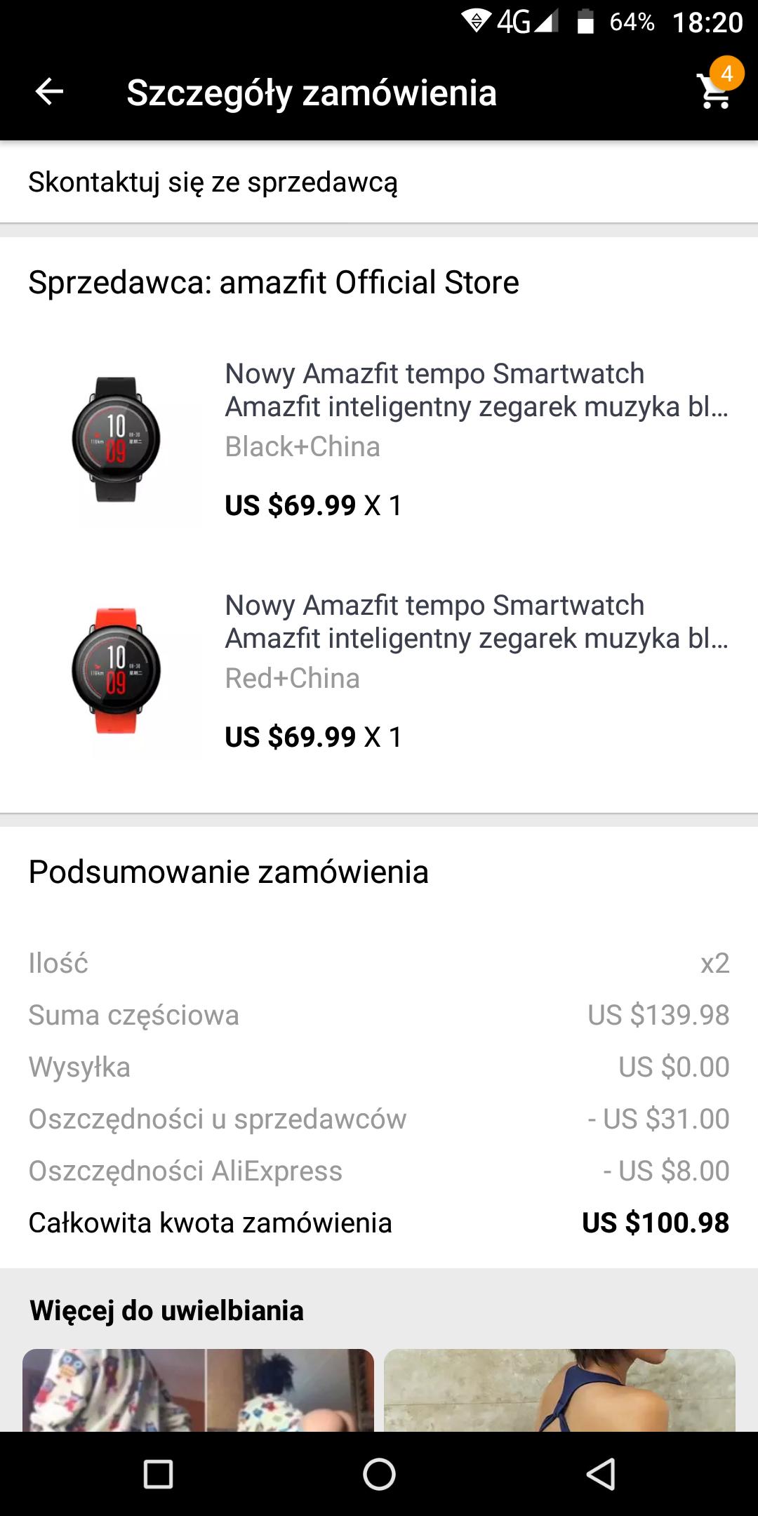 2x amazfit pace za $100.98 (z kuponem sprzedawcy 25$)
