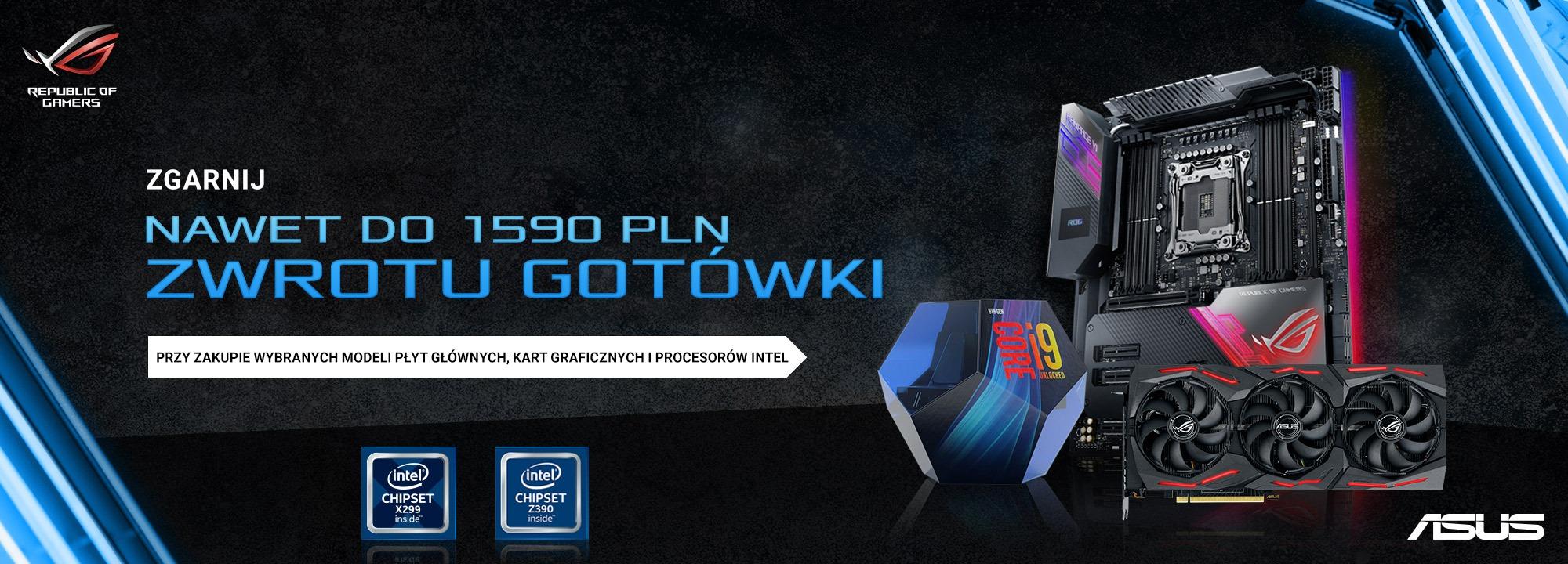 ASUS Cashback - zwrot gotówki do 1590 zł za zakup płyty X299/Z390 z procesorem Intel