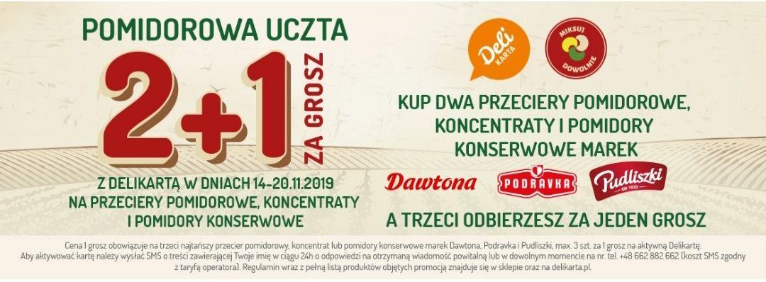 2+1 gratis z Delilartą na przeciery pomidorowe, koncentraty i pomidory konserwowe marek Pudliszka, Dawtona, Podravka @Delikatesy Centrum