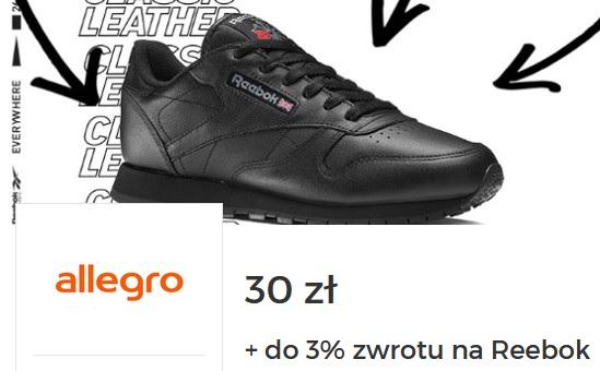 -30 zł + 3% cashback na oficjalny sklep Reebok na Allegro