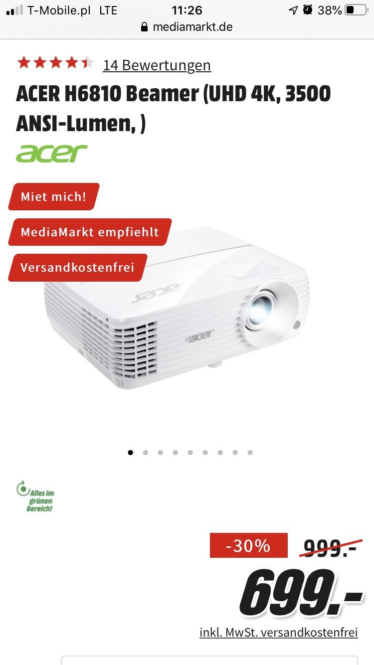 Projektor Acer H6810(oferta dla mieszkających przy granicy niemieckiej)