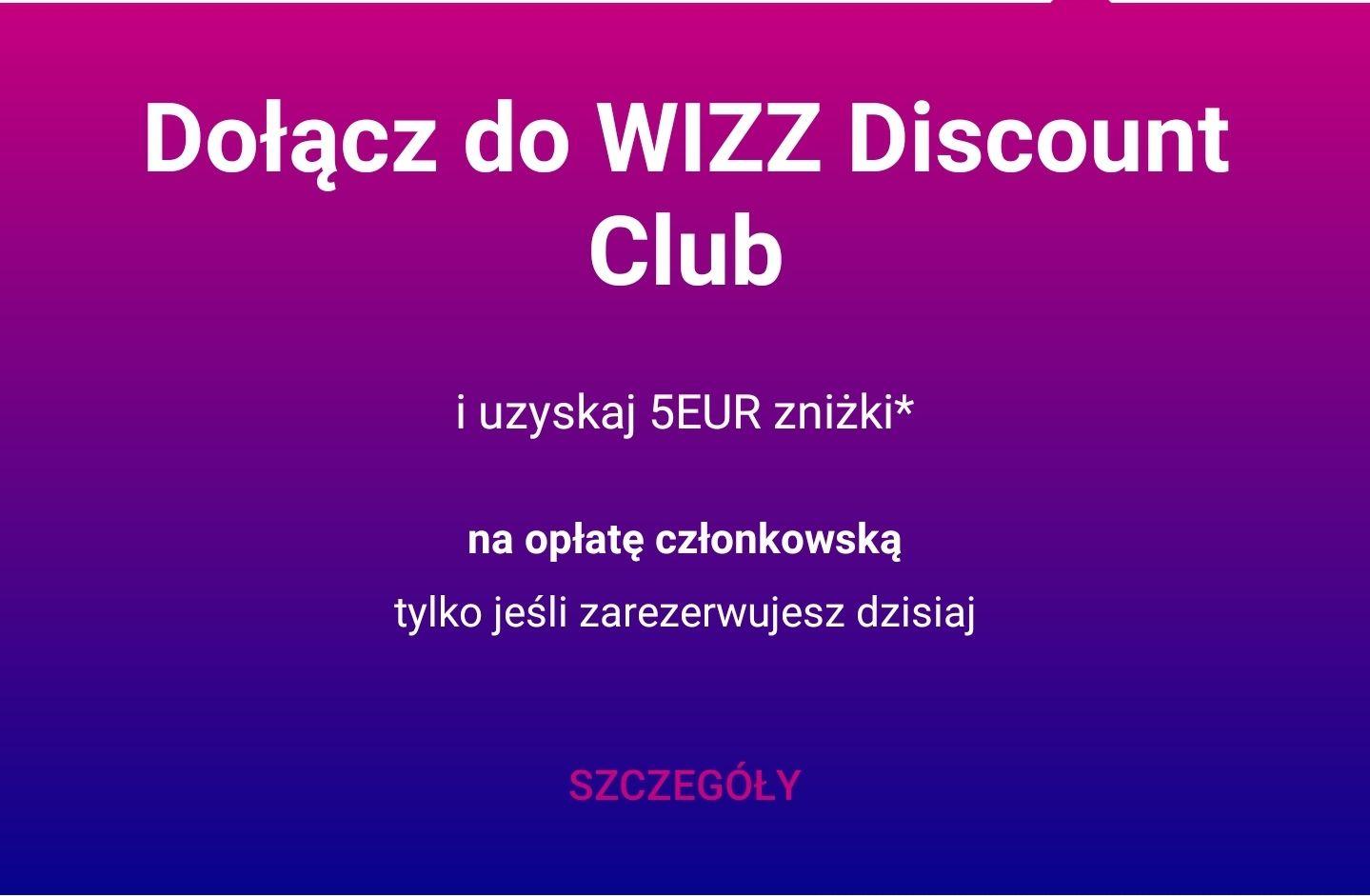 5 Euro zniżki na Kartę członkowską Wizz Discount Club