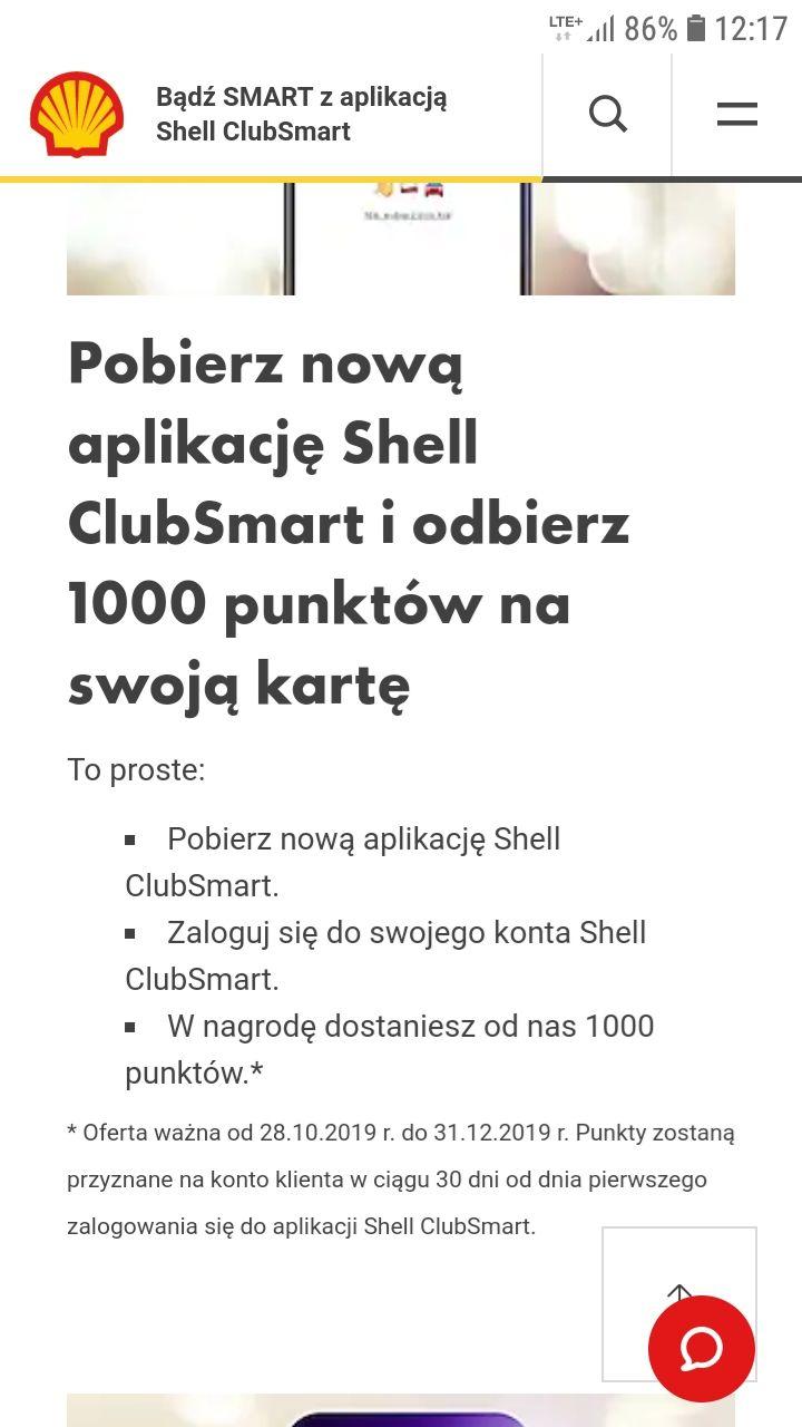 1000pkt za pobranie nowej aplikacji shell clubsmart