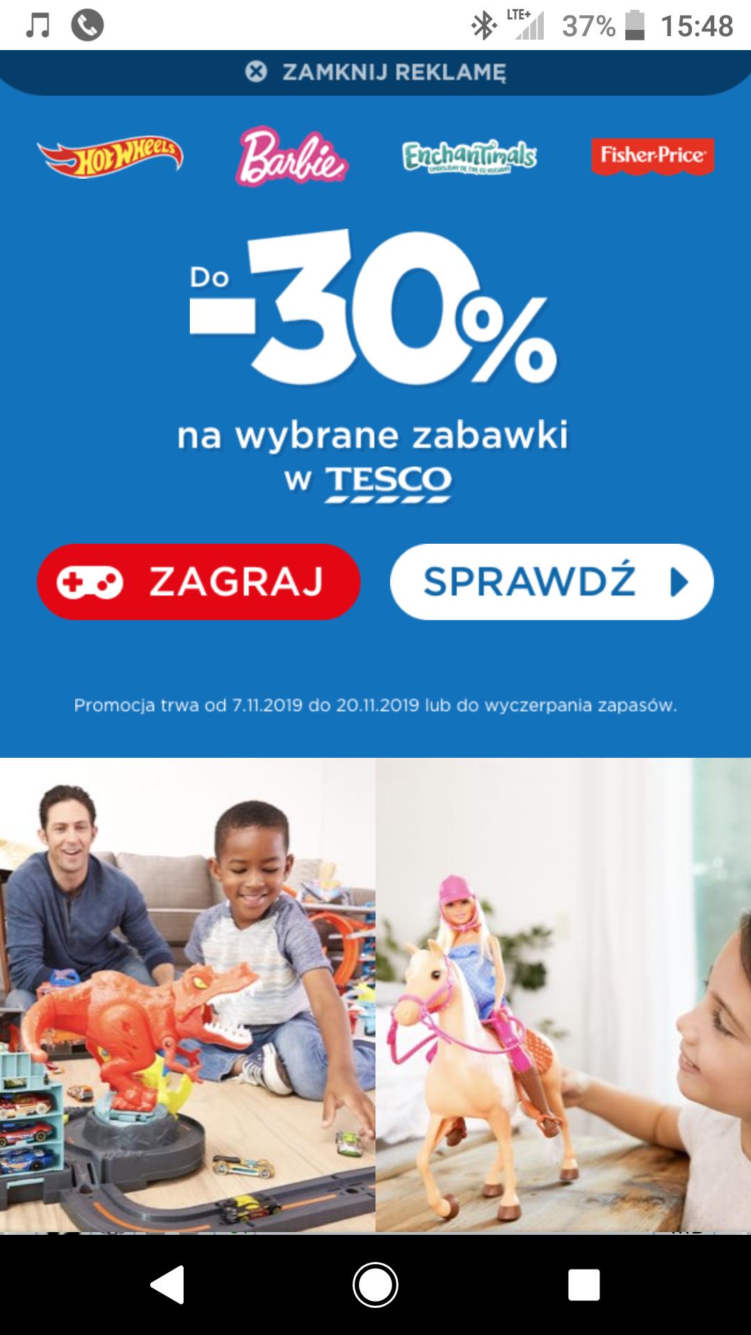 Zabawki do - 30% w Tesco