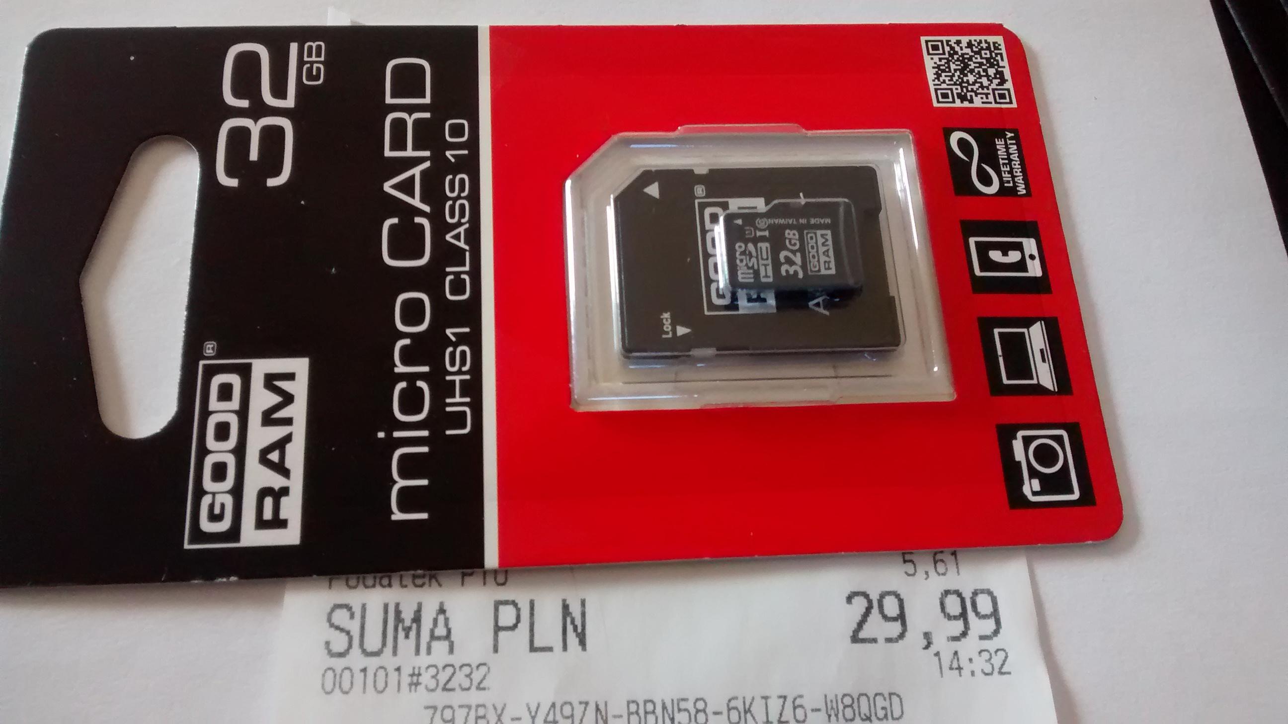 Karta micro SD 32GB GOODRAM UHS1 CLASS 10