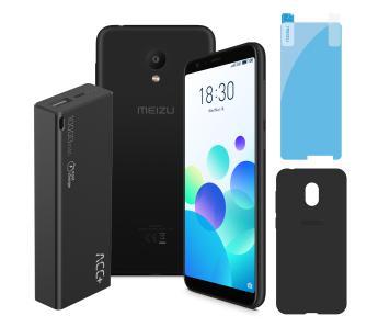 Telefon Meizu M8C 16GB (czarny) z powerbankiem 10 000 mAh oraz z etui i folią na ekran