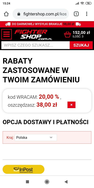 Rabat 20% na caly asortyment fightershop