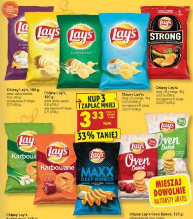 Chipsy Lay's za 3,33 zł przy zakupie 3 op. Biedronka