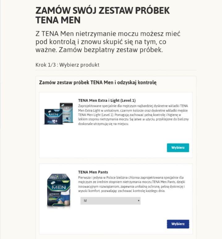 Bezpłatne próbki TENA Men. Dwa do wyboru!