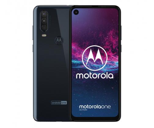 Smartfon Motorola One Action 4/128 GB (granatowy / biały) + etui. Android One, szerokokątna kamerka akcji ! Dystrybucja PL