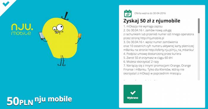 mOkazja mBank: 50 zł za jedną i 100 zł za dwie umowy @ nju mobile