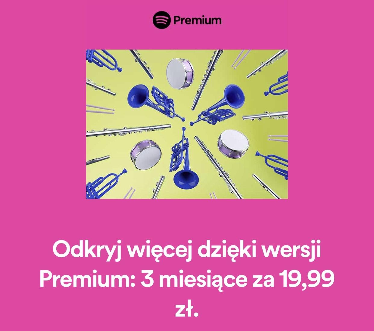 Spotify Premium na 3 miesiące za 19,99zł [DLA OBCENYCH BEZ SUBSKRYPCJI]