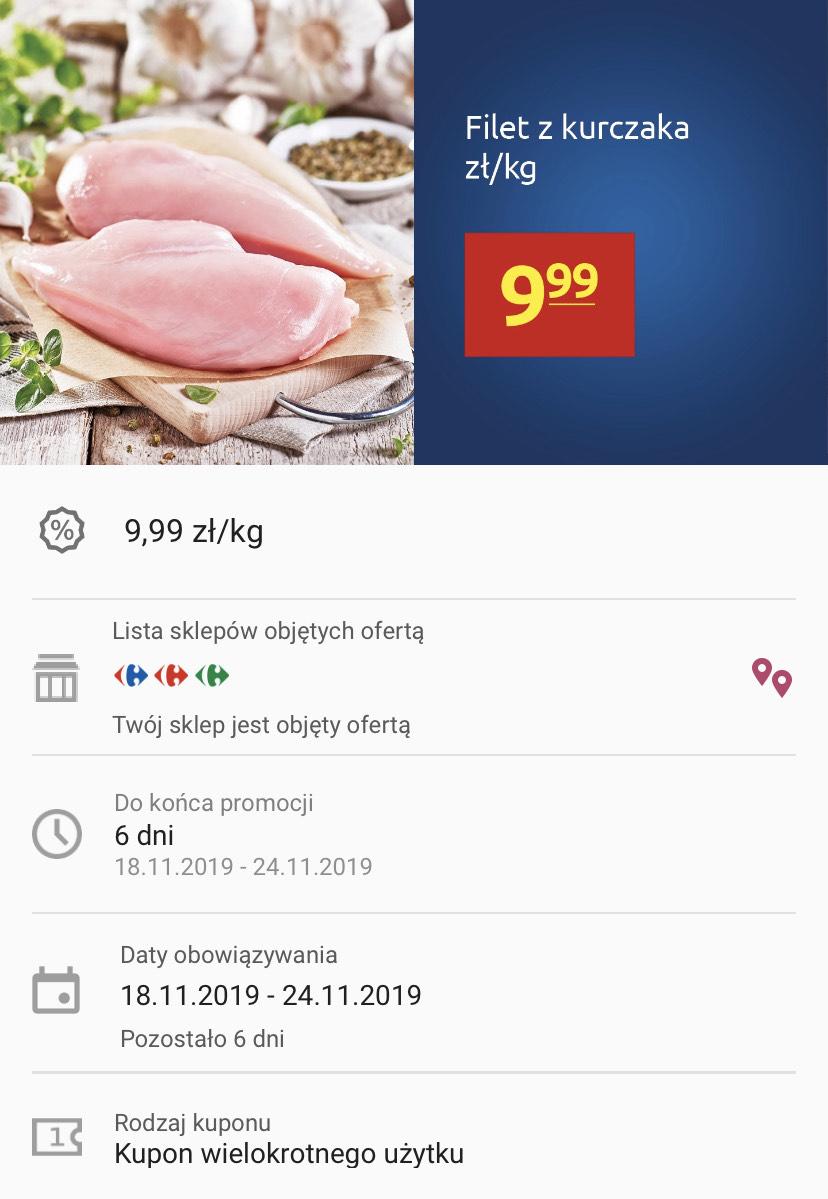 Filet z kurczaka z aplikacją 9,99zł/kg - Carrefour