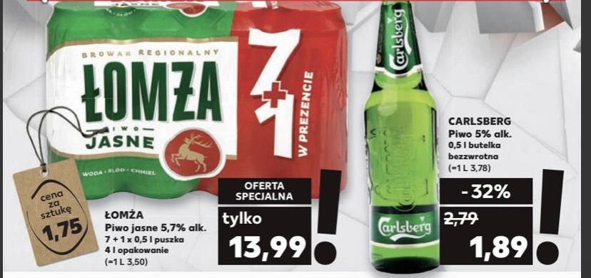Piwo jasne Łomża 8x0,5L za 13,99zł (1,75zł/0,5L); Carlsberg za 1,89zł/0,5L - Kaufland